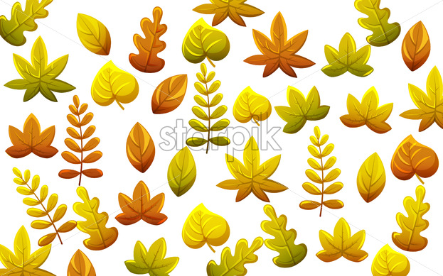 Leaves pattern in autumn thematics. Warm color palette. Vector - Starpik Stock