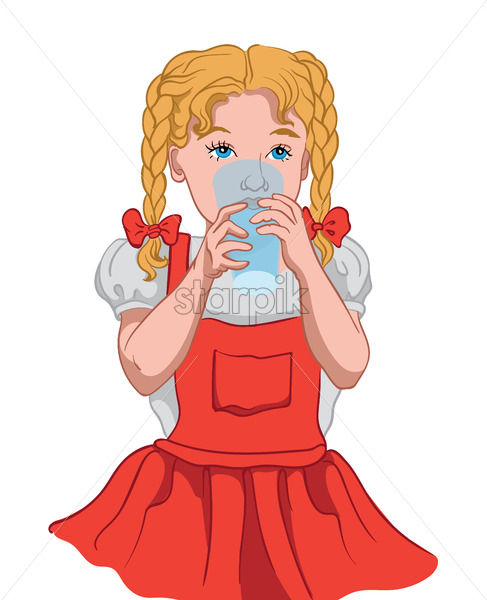 Little blonde girl with blue eyes in red dress and white blouse drinking water from a glass cup. Vector - Starpik Stock