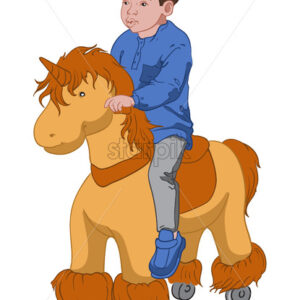 Little boy in blue shirt and shoes, gray pants riding a toy pony. Vector - Starpik Stock
