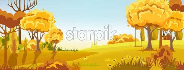 Peisage of a autumn forest. Warm colors. Swing on the tree branch. Vector - Starpik Stock