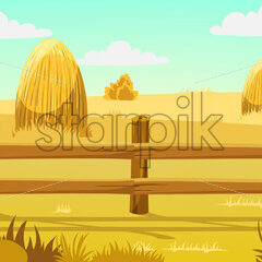Peisage of a field with haystacks nearby a forest. Autumn. Warm colors. Vector - Starpik Stock