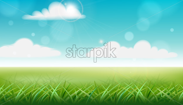 Peisage of a meadow. Green grass and blue sky with clouds. Vector - Starpik Stock