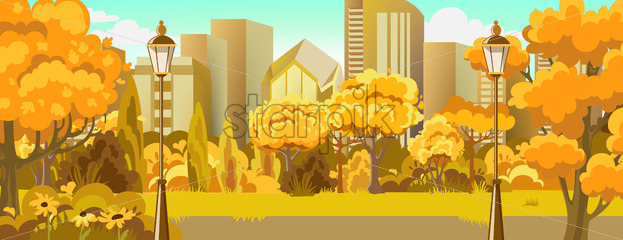 Peisage of autumn park near city. Warm colors. Skyscrapers. Vector - Starpik Stock