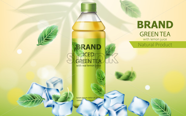 Realistic bottle of natural ice green tea with real lemon juice submerged in ice cubes and mint leaves. 3D mockup with product placement. Vector - Starpik Stock