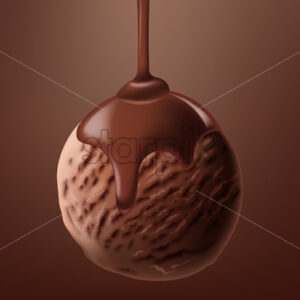 Realistic cacao ice cream ball with liquid chocolate pouring on it. Vector - Starpik Stock