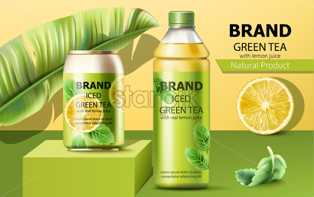 Realistic can on a podium and a bottle of natural ice green tea with real lemon juice surrounded by a palm and mint leaves. 3D mockup with product placement. Vector - Starpik Stock