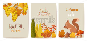 Set of autumn thematics cards. Grapes, bushes, leaves, twigs, squirrel, mushrooms and acorn. Vector - Starpik Stock