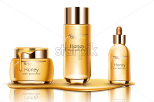 Set of honey cosmetic dripping on bottom with cream, facial essence and spray bottle. Mockup realistic Vector - Starpik Stock