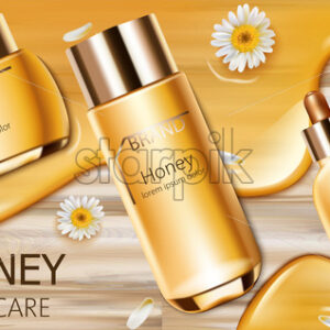 Set of honey cosmetic with cream, facial essence and spray bottle. Wood background. Mockup realistic Vector - Starpik Stock