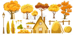 Set of trees, bushes, house, haystacks, lantern and flower. Autumn thematic. Vector - Starpik Stock