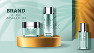 Set of two cosmetic containers on golden podium. Extreme moisture effect. Product placement. 3D mockup. Vector - Starpik Stock