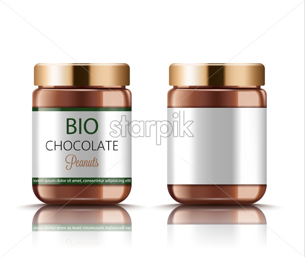 Set of two jars with golden lids filled with bio peanut chocolate. Place for text. Realistic. 3D Mockup. Vector - Starpik Stock
