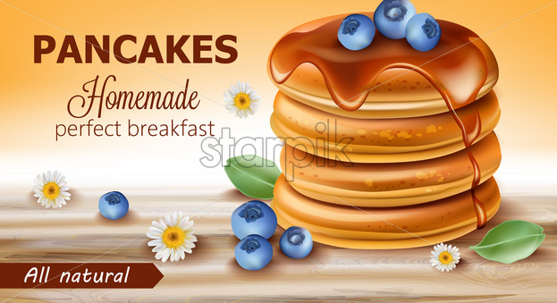 Stack of all natural pancakes covered in syrup and blueberries surrounded by chamomile flowers and leaves. Perfect homemade breakfast. 3D mockup. Realistic Vector - Starpik Stock