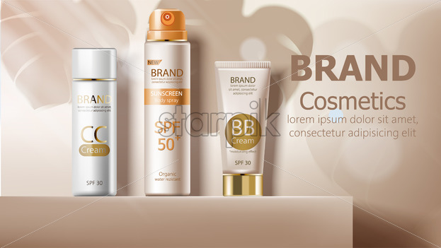 Sunscreen body spray and cream in beige color. Leaves shadows on backgrond. Product placement mockup vector - Starpik Stock