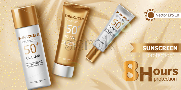 Three containers with water resistant sunscreen laying on beige glitter cloth. Eight hours of UVA and UVB protection. 3D Mockup with product placement. Vector - Starpik Stock