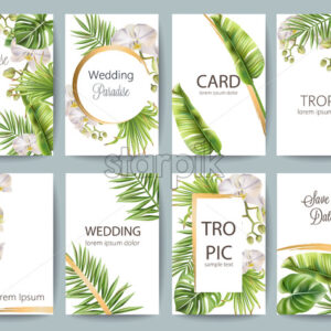 Tropical leaves wedding greeting card set with flowers and place for text. Vector - Starpik Stock