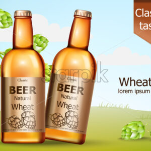 Two bottles of natural wheat beer surrounded by hops. Classic taste. 3D mockup with product placement. Realistic Vector - Starpik Stock