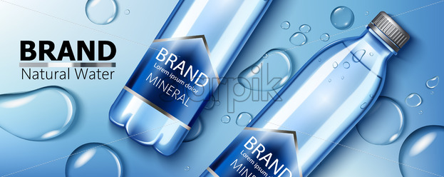 Two mineral natural water bottles with place for text laying on a surface with water blobs. Product placement. 3D mockup. Vector - Starpik Stock