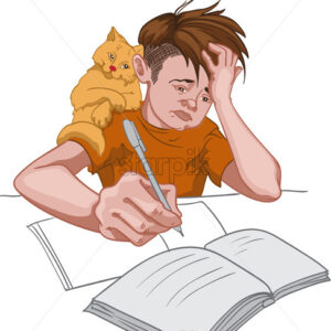 Unhappy boy in orange t-shirt making his homework while his cat sits on his shoulder. School routine. Vector - Starpik Stock