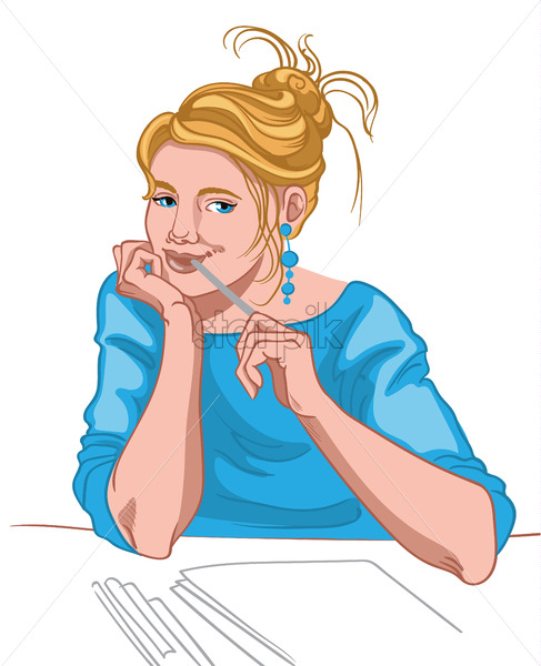 Young blonde woman with blue eyes and joyful face dressed in blue blouse thinking what to write. Work routine. Vector - Starpik Stock