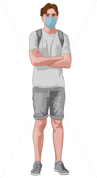 Young man in gray clothes and blue facial mask standing with crossed hands. Wearing backpack. Travelling during corona virus pandemic. Vector - Starpik Stock