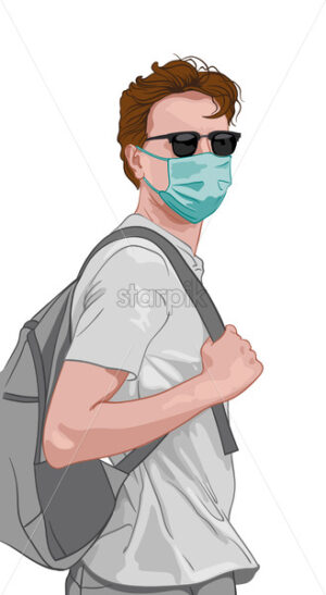Young man in gray clothes and blue facial mask. Wearing backpack. Travelling during corona virus pandemic. Vector - Starpik Stock