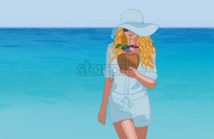 Young tanned blonde woman in blue clothes, sunglasses and hat drinking coconut cocktail near the sea. Vector - Starpik Stock