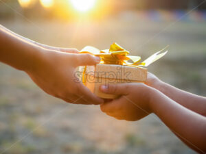 A boy and a kid are holding a gift box with golden tape, setting sun. Holiday concept - Starpik Stock