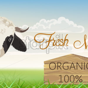 A cow with black spots with a meadow in background. Organic fresh milk. 3D mockup product placement. Vector - Starpik Stock