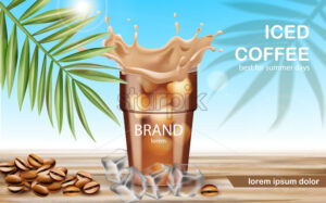 A cup with iced coffee surrounded by ice cubes and roasted beans. Best for summer days. Place for text. 3D mockup product placement. Vector - Starpik Stock