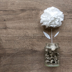 A glass can with metal coins and a flower growing up in it. Wooden background. Top view - Starpik Stock