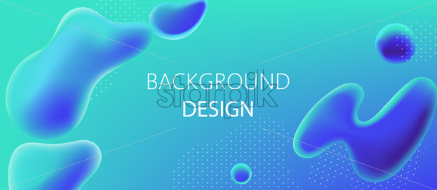 Abstract background design of water blobs and white dots pattern. Realistic 3D mockup product placement. Vector - Starpik Stock