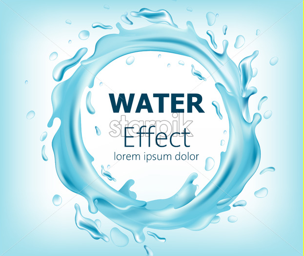 Abstract circle of flowing water. Place for text. Realistic 3D mockup product placement. Vector - Starpik Stock