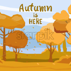Autumnal forest with fallen orange leaves carried by the wind. Vector - Starpik Stock