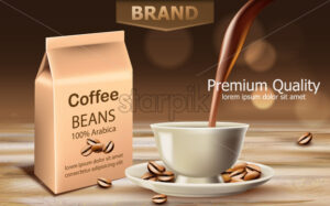Bag with premium quality arabica coffee beans with a cup near with liquid pouring from top. Place for text. 3D mockup product placement. Vector - Starpik Stock