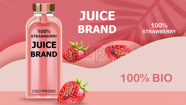 Bottle of cold pressed BIO juice with strawberries and pink waves in background. Realistic 3D mockup product placement. Vector - Starpik Stock