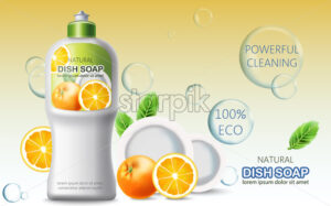 Bottle of dish soap surrounded by bubbles, oranges and plates. Ecological powerful cleaning. Place for text. Realistic 3D mockup product placement. Vector - Starpik Stock