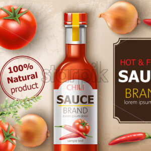 Bottle of fresh and hot natural chili sauce surrounded by tomatoes, onions and peppers. Place for text. Realistic 3D mockup product placement. Vector - Starpik Stock