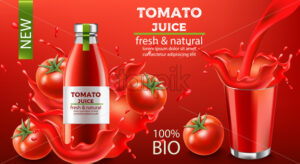 Bottle of fresh and natural bio juice submerged in flowing liquid and tomatoes with a cup of splashing fluid. Place for text. Realistic 3D mockup product placement. Vector - Starpik Stock