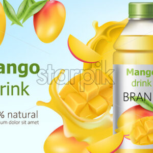 Bottle of natural mango drink surrounded by sliced and whole fruits and flowing juice. Place for text. Realistic 3D mockup product placement. Vector - Starpik Stock