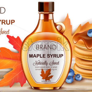 Bottle of natural sweet maple syrup with stacked pancakes with blueberries and autumnal leaves in background. Place for text. Realistic 3D mockup product placement. Vector - Starpik Stock
