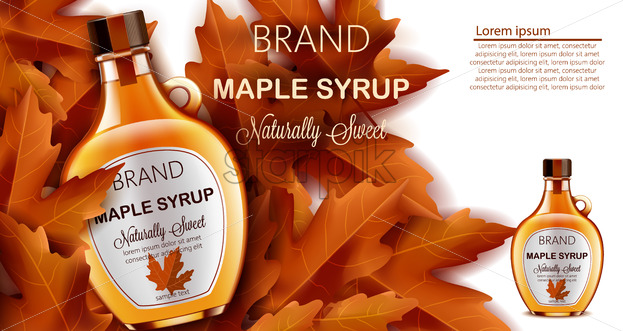 Bottle of naturally sweet maple syrup submerged in autumnal leaves. Place for text. Realistic 3D mockup product placement. Vector - Starpik Stock