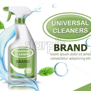 Bottle of universal cleaner surrounded by bubbles, mint leaves, and flowing water. Place for text. realistic 3D product placement. Vector - Starpik Stock