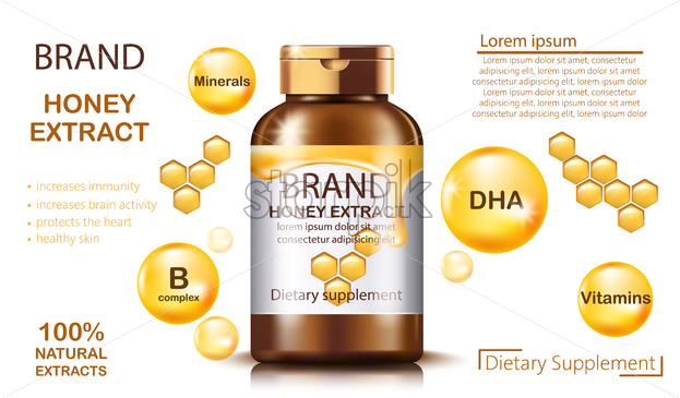 Bottle with natural honey extract for dietary supplement and health benefits. Contains minerals and vitamins. Place for text. Realistic 3D mockup product placement. Vector - Starpik Stock