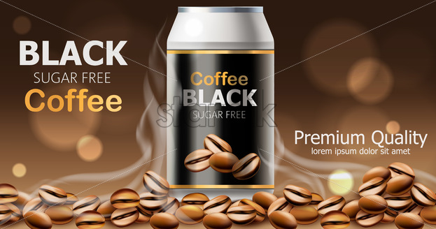 Can of premium quality sugar free black coffee. Place for text. 3D mockup product placement. Vector - Starpik Stock