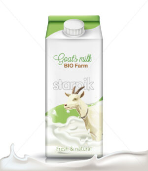 Carton box with a goat submerged in milk on it. Fresh and natural. Realistic. 3D mockup product placement. Vector - Starpik Stock