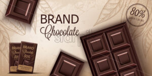 Chocolate bar and packaging on retro background. Place for text. Realistic 3D mockup product placement. Vector - Starpik Stock
