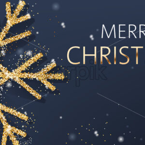 Christmas composition of a big golden snowflake and sparkle. Merry Christmas. Realistic 3D mockup product placement. Vector - Starpik Stock