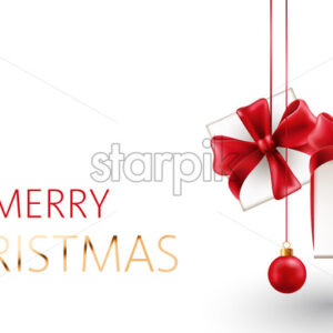 Christmas composition of hanging gift box with red ribbons and decorative balls. Realistic 3D mockup product placement. Vector - Starpik Stock