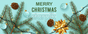Christmas decorations composition, Pine cones, twigs, festive lights, ribbons, and clear sphere. Happy holidays. Realistic 3D mockup product placement. Vector - Starpik Stock